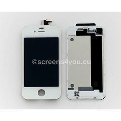 Zamjenski ekran i staklo osjetljivo na dodir za iPhone 4S + zadnja strana u bijeloj boji