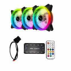 Komplet - 3 x NaviaTec FAN+ Dual Ring RGB + kontroler