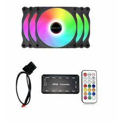 Komplet - 3 x NaviaTec FAN120-RGB + RGB kontroler