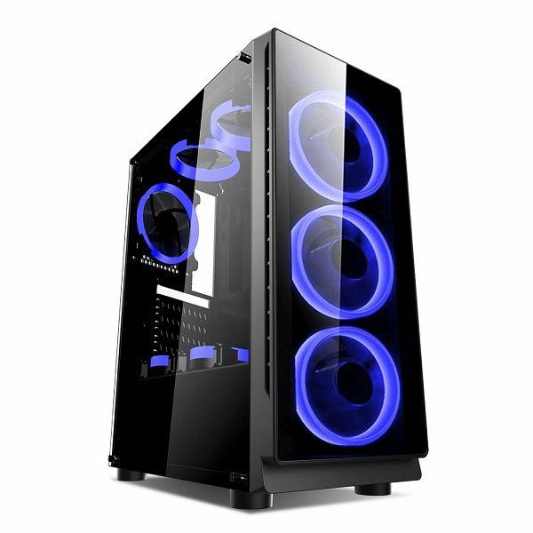 Gaming kućište NaviaTec Vortex Blue color LED, prozirna bočna stranica