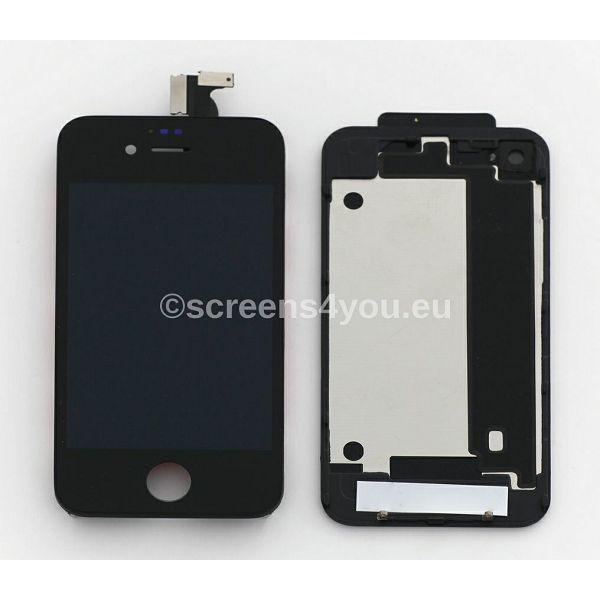 Zamjenski ekran i staklo osjetljivo na dodir za iPhone 4 + zadnja strana u crnoj boji